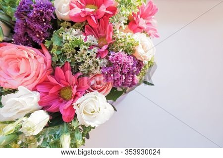 Elegant Bouquet Of Amaryllis, Chrysanthemums And Roses On A White Background. A Large Bouquet Of Exo