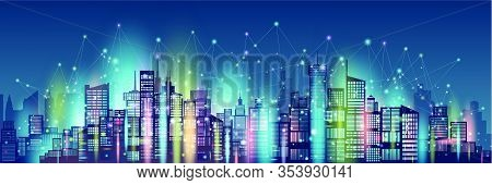 Technology Wireless Network Communication Colorful Smart City And Network Technology In Downtown Sky