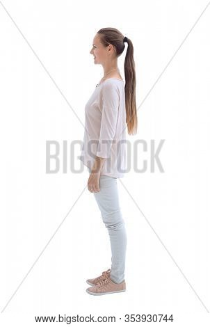 side view. beautiful young woman looking forward.