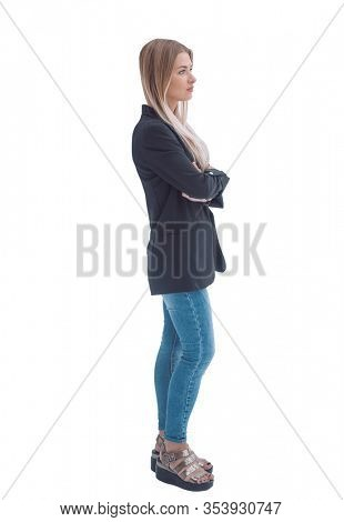 in full growth. confident young woman in casual clothes.