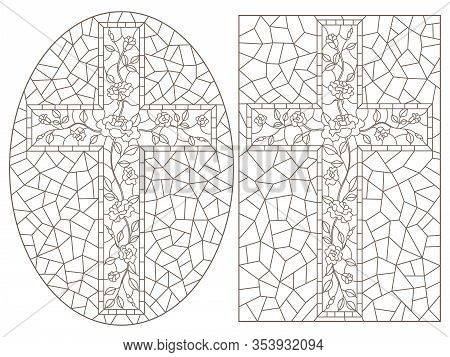 Set Of Outline Illustrations Of Stained Glass Windows With Christian Crosses Decorated With Roses, D