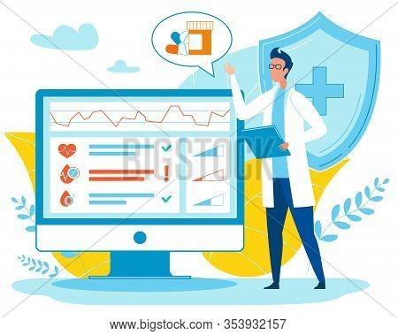 Diagnostics And Medical Consultation Application On Computer Flat Cartoon Vector Illustration. Digit