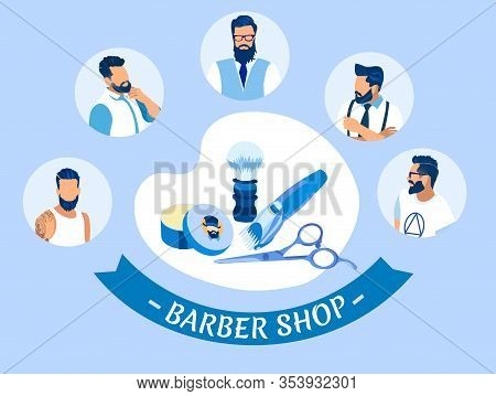 Barber Shop Banner With Different Men And Haircut Tools Haircutting Machine, Shaving Brush, Cosmetic