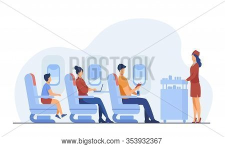 Air Trip With Comfort Flat Vector Illustration. Passengers Waiting For Airline Meal. People Travelli