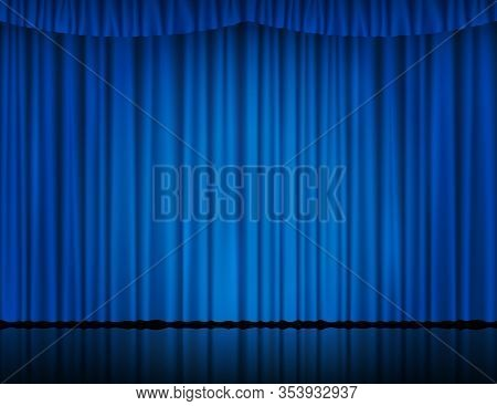 Blue Velvet Curtain In Theater Or Cinema. Vector Background With Closed Stage Curtains With Drapery,