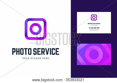 Logo And Business Card Template For Photo Service, Studio. Vector Illustration In Line, Origami, Gra