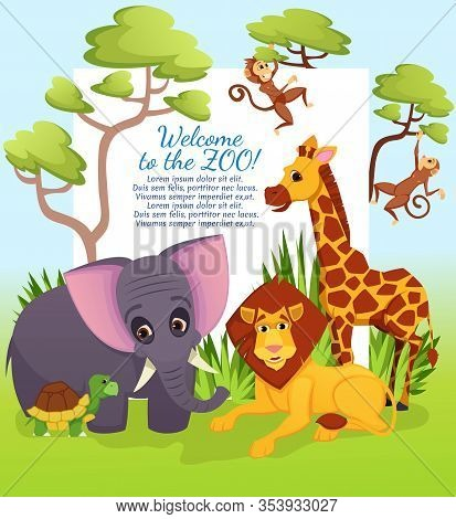 Cute African Animals Welcome To Zoo On Nature Background With Trees. Elephant, Lion King, Giraffe, M