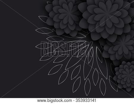 Background Of Gradient Smooth Background Texture On Elegant Rich Luxury Background Web Template Or Website Abstract Background minimalist black Background flowers, silver Paper. Vector background EPS10