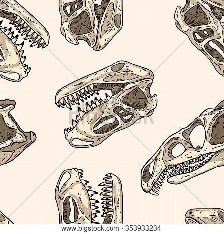 Carnivorous Reptile Dinosaur Fossils Seamless Pattern. Trex Fossilized Skull Wallpaper. Archosaurus