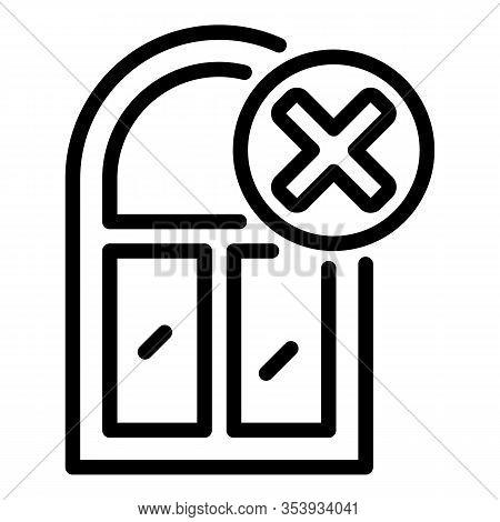 Cancel Window Installation Icon. Outline Cancel Window Installation Vector Icon For Web Design Isola