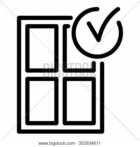 Window Installation Finish Icon. Outline Window Installation Finish Vector Icon For Web Design Isola
