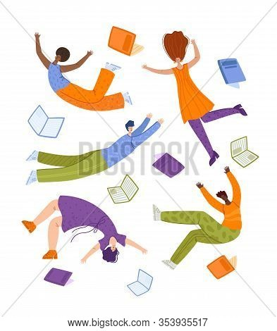 People Flying Dreaming With Books, Miniature Men And Girls, Students In Dynamic Poses Isolated On Wh