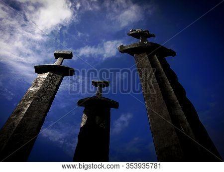 Stavanger, Norway On July 03. The Three Swords Monument On July 03, 2010 In Stavanger, Norway. Brigh
