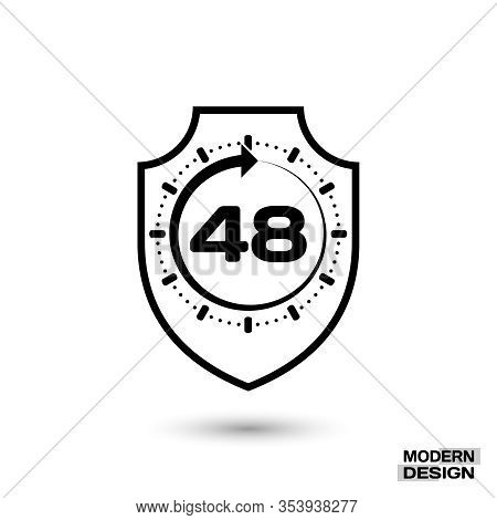 Protection Shield And Sign - 48 Hour Cycle. Icon Isolated On White Background. Vector Illustration