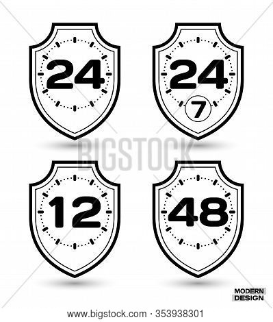 Set Of Protection Shields With Sign On Clock Face - 12, 24, 24-7, 48 Hour Cycle. Icon Isolated On Wh