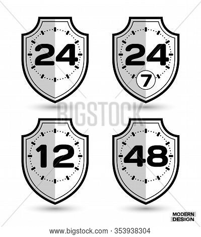 Set Of Protection Shields With Shadow, And Sign On Clock Face - 12, 24, 24-7, 48 Hour Cycle. Icon Is