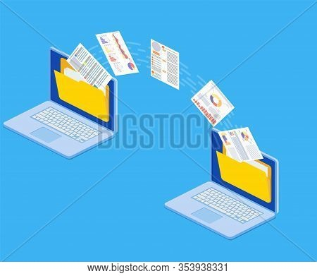 Isometric File Transfer. Two Laptops With Folders On Screen And Transferred Documents. Copy Files, D