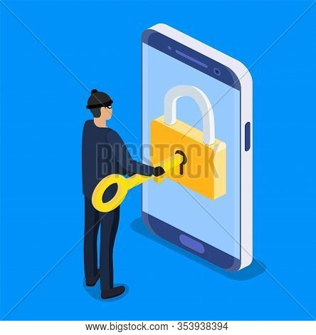 Isometric Concept Of Hacking. Thief Or Hacker Use Key To Hack Into Smartphone. Hacker And Cyber Secu
