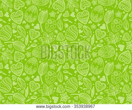 Easter Egg Seamless Green Pattern With Hearts, Flowers For Wrapping, Card, Paper. Duotone Background