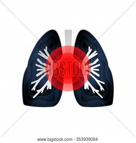 Isolated Icon Of Sick Lungs With Different Diseases On A White Background. Pneumonia, Asthma, Tuberc