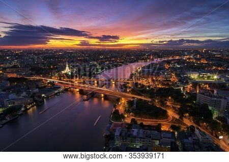 Landscape Chao Phraya River From A High Angle With Buddha Yodfa Bridge Is A Bridge That Links The Ca