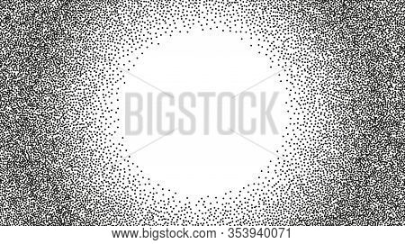 Stipple Vector Grunge Background. Black Ink Dotted Backdrop With Circle Frame. Halftone Effect