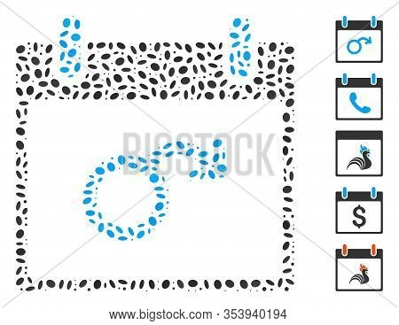 Dotted Mosaic Based On Impotence Calendar Day. Mosaic Vector Impotence Calendar Day Is Created With