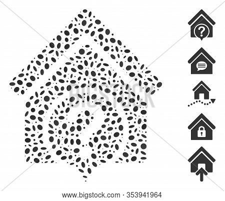 Dotted Mosaic Based On Realty State. Mosaic Vector Realty State Is Composed With Scattered Ellipse D