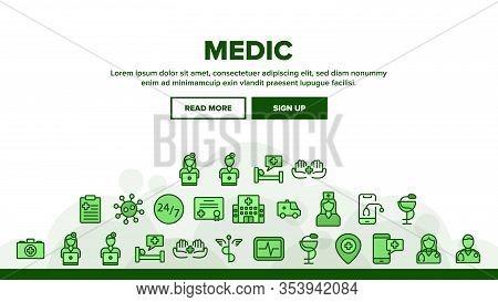 Medic Doctor And Nurse Landing Web Page Header Banner Template Vector. Hospital And Medic Case, Medi