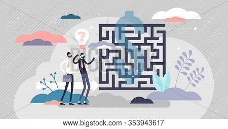 Business Maze Concept, Flat Tiny Person Vector Illustration. Abstract Labyrinth Puzzle Symbol With C