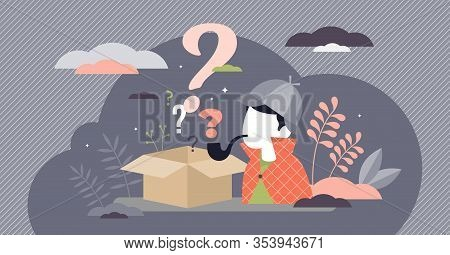 Mystery Box Wonder Concept, Flat Tiny Person Vector Illustration. Detective Work By Solving Challeng