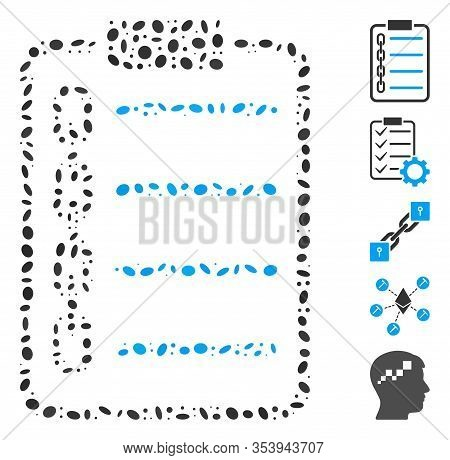 Dotted Mosaic Based On Blockchain Contract. Mosaic Vector Blockchain Contract Is Formed With Random