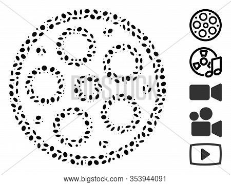 Dotted Mosaic Based On Bobbin. Mosaic Vector Bobbin Is Composed With Randomized Elliptic Elements.