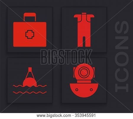 Set Aqualung, First Aid Kit, Wetsuit For Scuba Diving And Floating Buoy On The Sea Icon. Vector