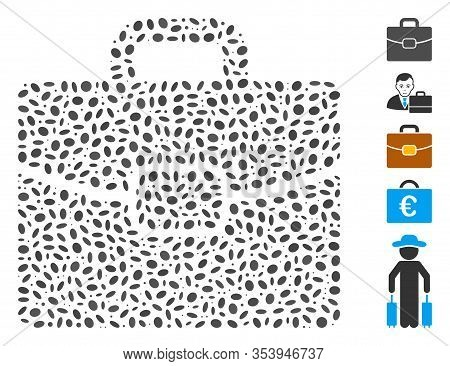 Dotted Mosaic Based On Briefcase. Mosaic Vector Briefcase Is Composed With Random Elliptic Items.