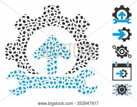 Dot Mosaic Based On Gear Integration Tools. Mosaic Vector Gear Integration Tools Is Composed With Ra