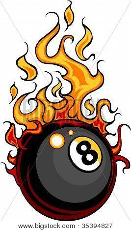 Billiards Eight Ball Flaming Vector Cartoon