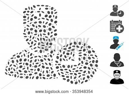 Dotted Mosaic Based On Doctor Appointment Clock. Mosaic Vector Doctor Appointment Clock Is Formed Wi