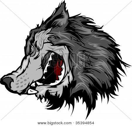 Cartoon Vector Mascot Image of a Grey Wolf Head poster