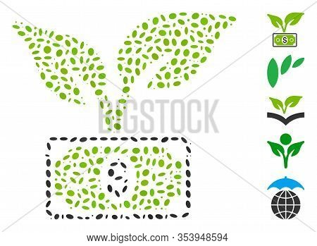 Dotted Mosaic Based On Eco Startup Gain. Mosaic Vector Eco Startup Gain Is Designed With Random Elli