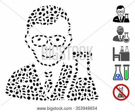 Dot Mosaic Based On Chemist. Mosaic Vector Chemist Is Composed With Randomized Elliptic Spots.