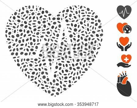 Dotted Mosaic Based On Cardiology Heart Pulse. Mosaic Vector Cardiology Heart Pulse Is Created With