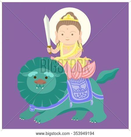 Manjushri Sitting On Auspicious Animal. Chinese God. A Green Lion. Cartoon Character. Vector Illustr