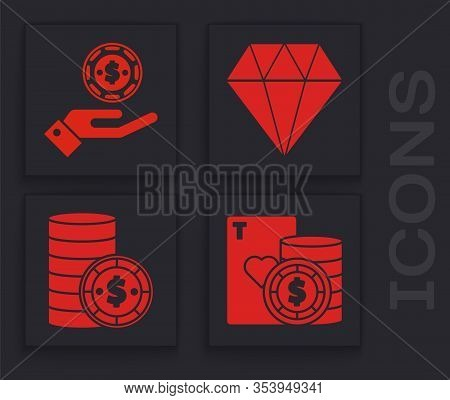 Set Casino Chip And Playing Cards, Hand Holding Casino Chips, Diamond And Casino Chip With Dollar Ic