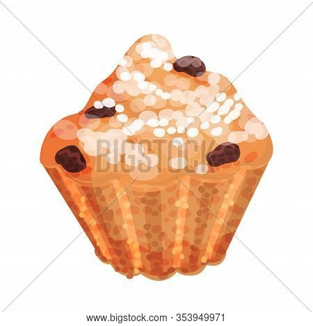 Sweet Muffin With Raisin Vector Food Element