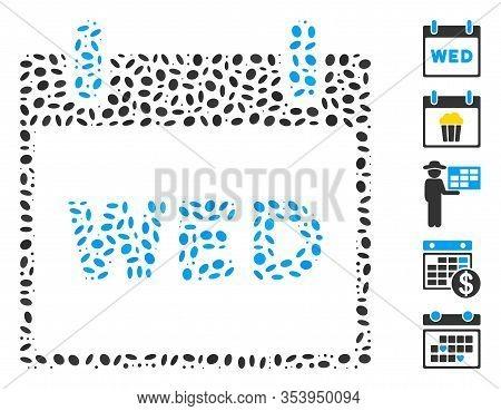 Dot Mosaic Based On Wednesday Calendar Page. Mosaic Vector Wednesday Calendar Page Is Composed With