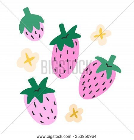 Strawberry Collection, Doodle Flat Icons, Isolated Vector Illustration, Fresh Sweet Summer Berries,