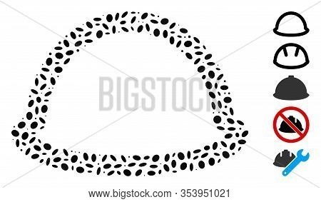Dot Mosaic Based On Hardhat. Mosaic Vector Hardhat Is Composed With Randomized Oval Spots.