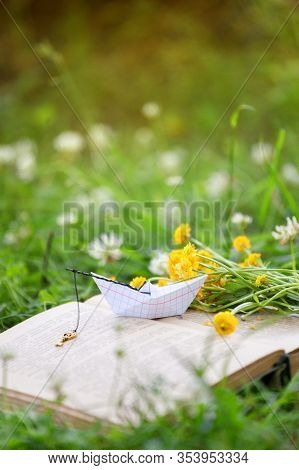 Open Book Outdoor. Knowledge Is Power. Book In A Spring Summer Forest Or Garden, Yard, Concept Of St