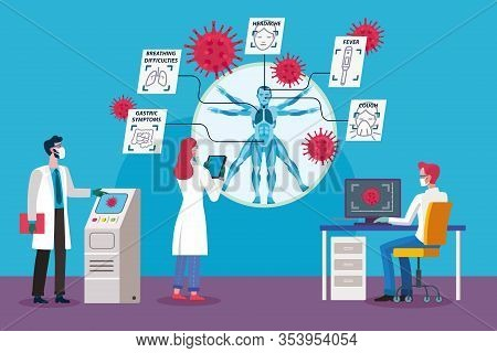 A Team Of Researchers And Doctors Are Studying The Symptoms Of The Coronavirus. Vector Illustration.